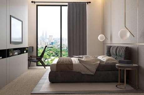 39- As cortinas para quarto podem combinar com a cabeceira da cama. Fonte: Pinterest