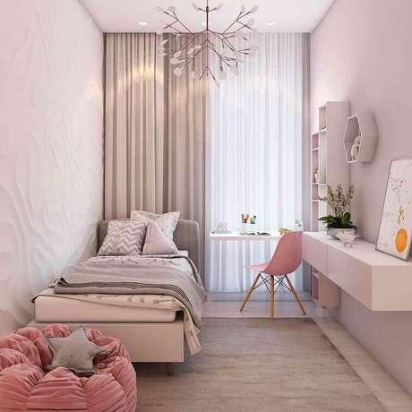52- As cortinas para quarto devem ter os mesmos tons da decoração. Fonte: Pinterest