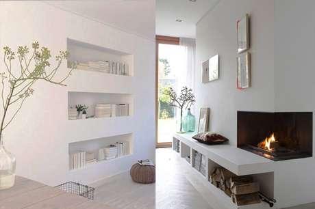 15. Os nichos feitos nas paredes de gesso acartonado podem dar lugar à móveis. Foto: Vida de Casada
