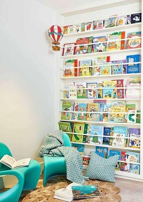72. Para o quarto infantil procure investir em prateleiras com abertura frontal, expondo assim os livros. Fonte: Pinterest