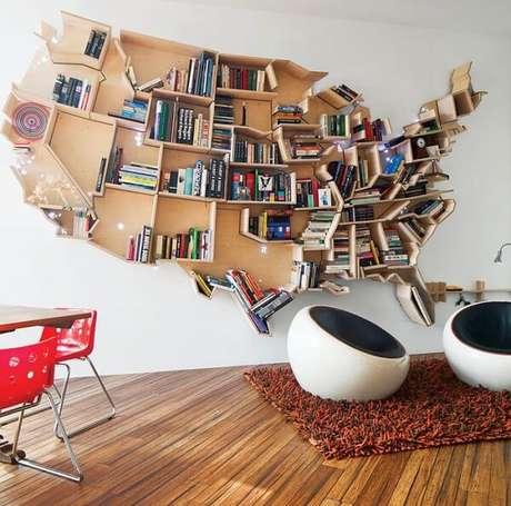 1. Prateleira para livros com design de mapa mundi. Fonte: Pinterest