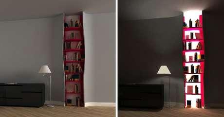 26. Prateleira para livros com design criativo embutido na parede. Fonte: Pinterest