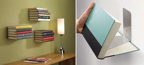 53. Prateleira para livros. Aqui, os livros são fixos por um imã. Fonte: Pinterest