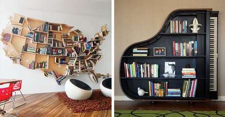 36. Prateleira para livros em formato criativo de mapa mundi e piano. Fonte: Pinterest