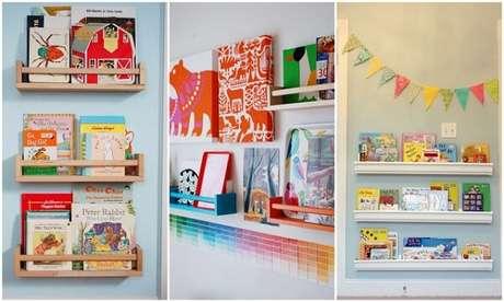 48. Prateleira para livros infantil modelo rústico, colorido e branco. Fonte: Pinterest