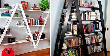 82. Prateleira para livros com formatos criativos feitas com estrutura de escada. Fonte: Pinterest