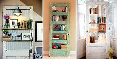 83. Prateleira para livros feitas com estrutura de porta de madeira. Fonte: Pinterest