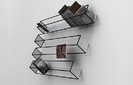 51. Prateleira para livros com efeito de ilusão de ótica, para decoração minimalista. Fonte: Clarke Hopkins Clarke