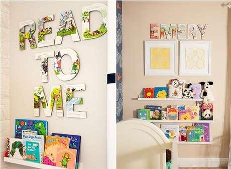 52. Prateleira para livros e letras em MDF encantam a decoração do quarto. Fonte: Project Nursery
