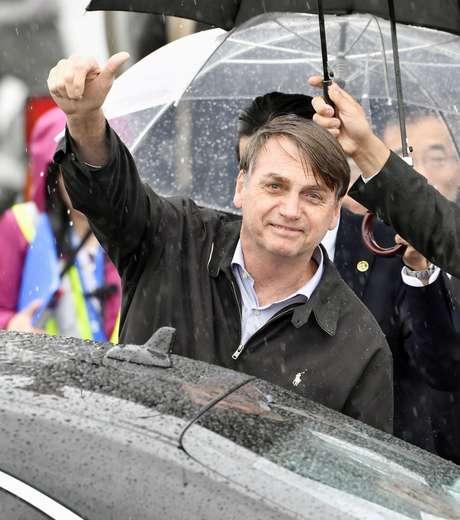 Bolsonaro chega a aeroporto internacional de Kansai, Japão, para reunião do G20  em Izumisano, Osaka 27/6/019 Kyodo/via Reuters