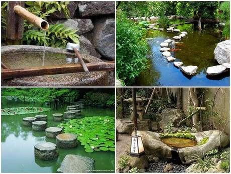 17. Fotos de jardim japonês com a presença de água. Fonte: Japão Em Foco