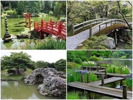 24. Fotos de jardim japonês com estruturas de ponte. Fonte: Japão Em Foco