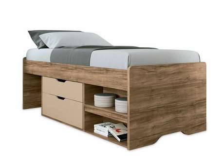 22. A cama com gavetas pode ter um design mais rústico. Foto: Colchões Costa Rica