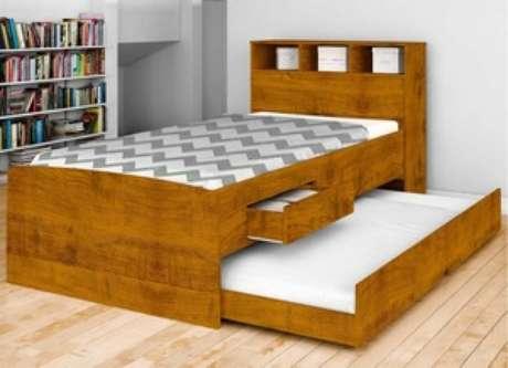 6. A cama com gavetas de solteiro e com auxiliar é ótima para quem divide quarto. Foto: Mega Mobília