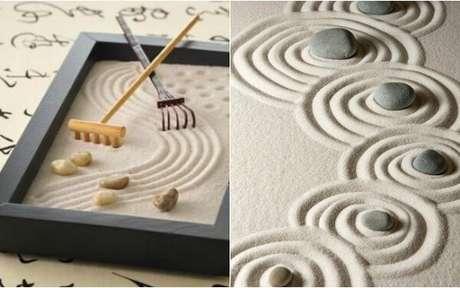 38. Elemento decorativo formado com mini jardim japonês. Fonte: IG Delas