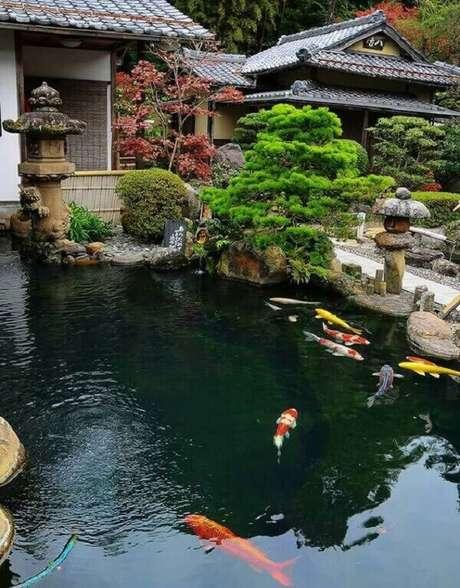54. Jardim com carpas, afinal os peixes são muito presentes na cultura oriental. Fonte: Pinterest