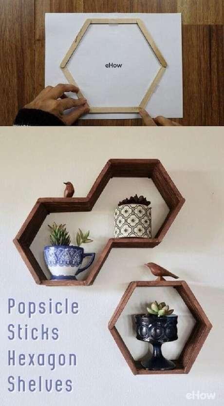 4. Nichos de palitos de picolé, DIY baratinhos para decorar sua casa. Fonte: Pinterest