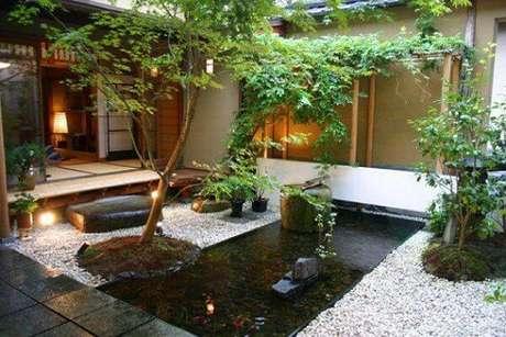 73. Para ter mais relaxamento em casa, que tal fazer um Jardim Japonês. Fonte: Pinterest