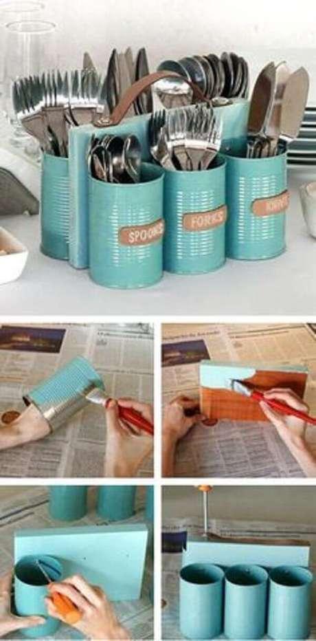 9. Porta talher com lata, DIY baratinhos para decorar sua casa. Fonte: Pinterest