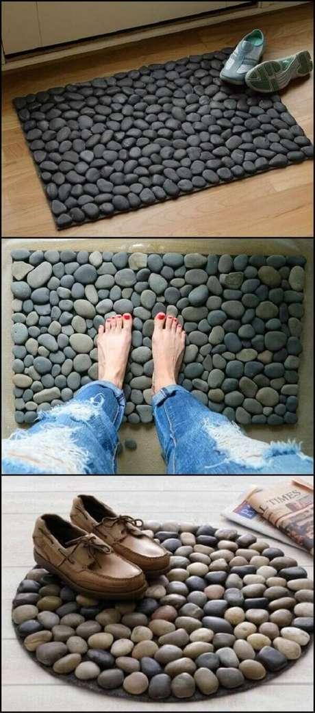 6. Tapete de pedra, DIY baratinhos para decorar sua casa. Fonte: Pinterest