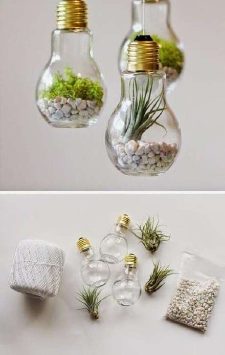 7. Terrário na lâmpada, DIY baratinhos para decorar sua casa. Fonte: Pinterest