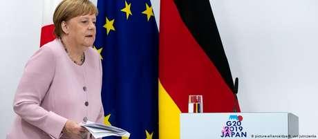 Merkel, durante a reunião do G20, no Japão. Tremores provocaram especulações sobre seu estado de saúde
