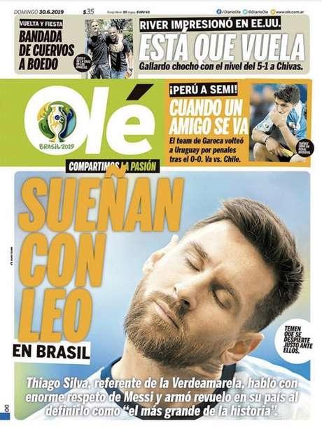 A capa do Olé deste domingo - FOTO: Divulgação