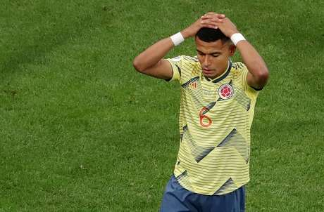 William Tesillo lamenta após perder pênalti em partida contra o Chile pela Copa América 28/06/2019 REUTERS/Amanda Perobelli