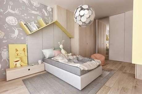 8. Decoração de quarto infantil com modelos de guarda roupa em L, planejado