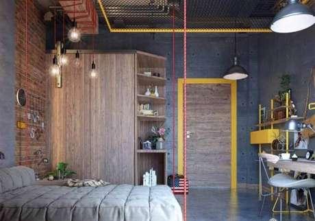 60. Modelos de guarda roupa pra quartos com decoração industrial