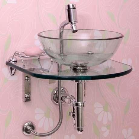 14. Cuba de vidro simples para banheiros pequenos – Por: Pinterest