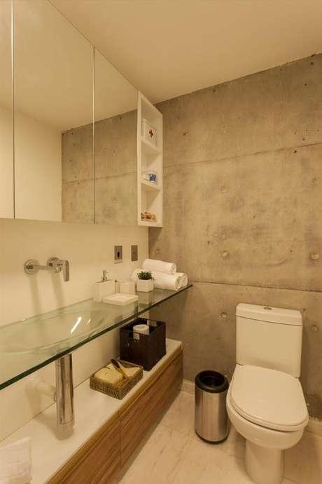 61. Cuba de Vidro para ambientes clean e sofisticados com espelho – Por: Pinterest