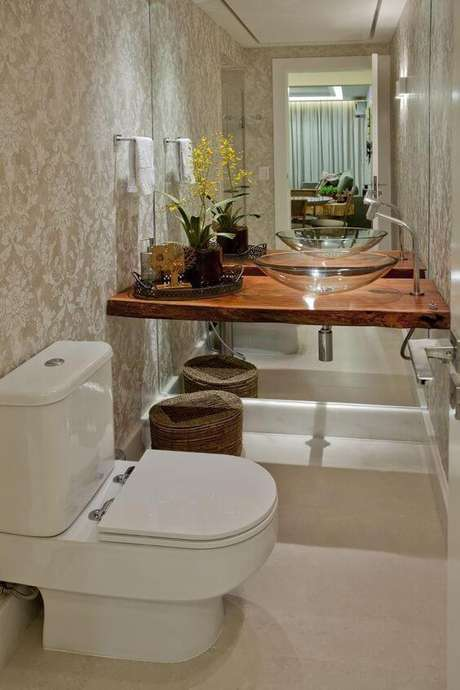34. Cuba de vidro para banheiro simples e bem decorado – Por: Viva Decora