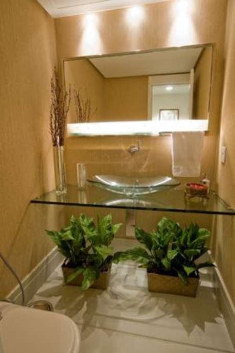 32. Cuba de vidro com plantas decorando o ambiente – Por: Pinterest