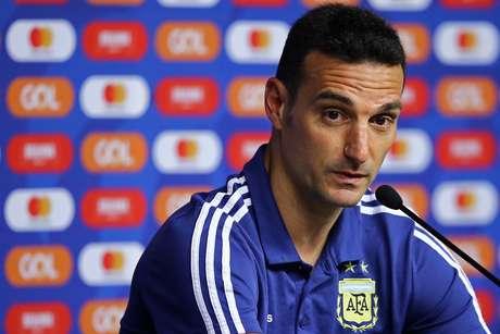 O técnico Lionel Scaloni, da Argentina, durante coletiva de imprensa no Estádio do Mineirão, em Belo Horizonte, nesta segunda-feira (1º)