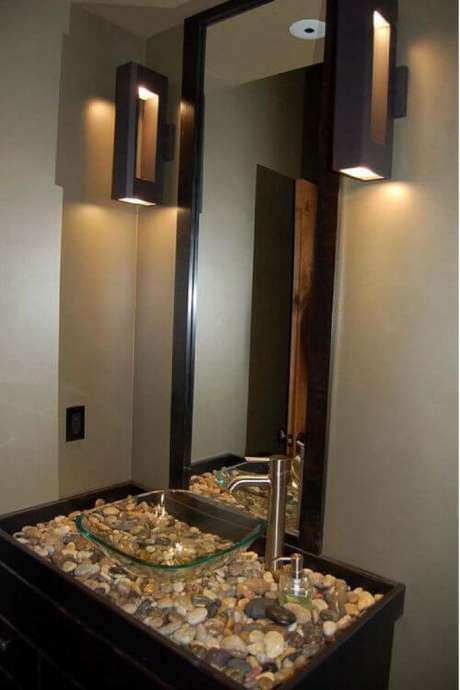 46. Cuba de vidro para banheiro moderno – Por: Pinterest