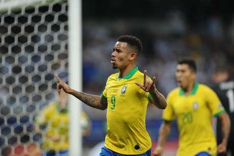 Comemoração do gol de Gabriel Jesus, do Brasil, na partida contra a Argentina, válida pelas semifinais da Copa América 2019, no Estádio Mineirão, em Belo Horizonte (MG), nesta terça-feira, 02