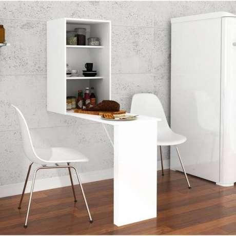 22. Mesa dobrável de parede com armário para guardar itens do café da manhã