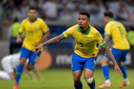 Gabriel Jesus, do Brasil, comemora seu gol na partida contra a Argentina, válida pelas semifinais da Copa América 2019, no Estádio Mineirão, em Belo Horizonte (MG)