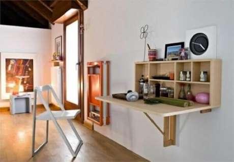14. Mesa dobrável de parede para ambientes pequenos e bem decorados