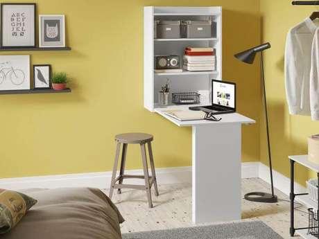 15. Mesa dobrável de parede branca para escritório no quarto