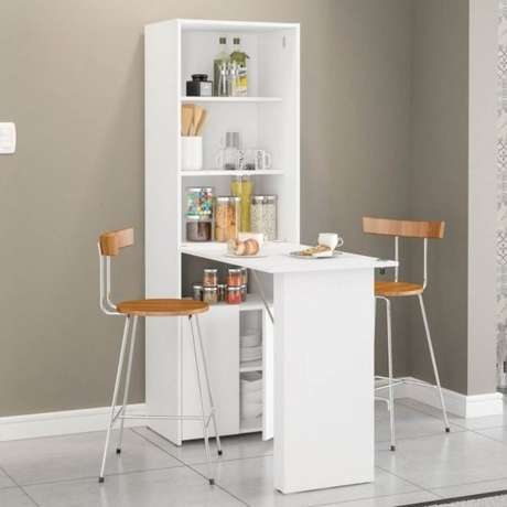 19. Mesa dobrável de parede com armários para cozinha