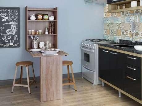 59. Mesa dobrável de parede para cozinha moderna