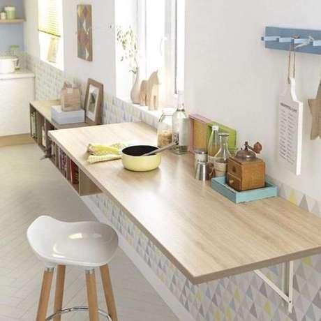 53. Mesa dobrável de parede para café da manhã e refeições rápidas na cozinha