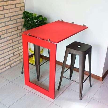 41. Mesa dobrável de parede vermelha para área externa