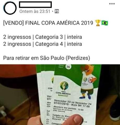 Cambistas vendem ingressos para a final da Copa América
