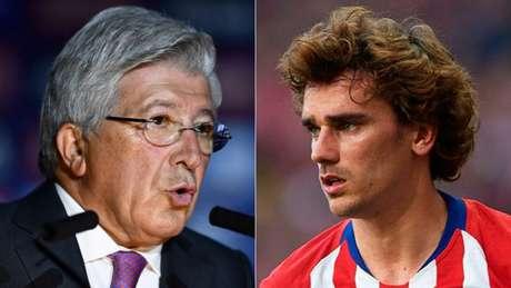 Enrique Cerezo (à esq.) é presidente do Atleti, onde Griezmann (à dir.) atuou por cinco temporadas (Foto: AFP)