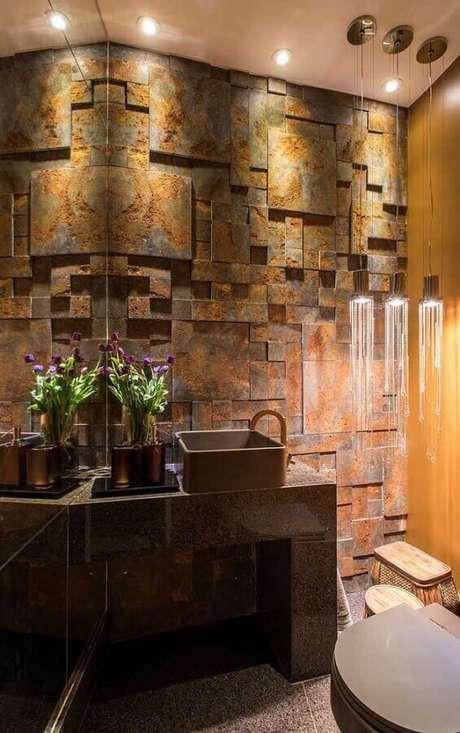 24. Decoração diferente para banheiro com pedra ferro – Foto: Castelatto