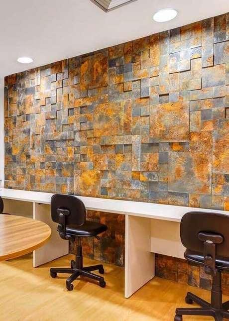 5. O ambiente de trabalho também pode ficar muito mais interessante utilizando o revestimento pedra ferro – Foto: Pinterest