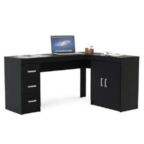 14. Escrivaninha preta em formato l com várias gavetas. Fonte: Pinterest